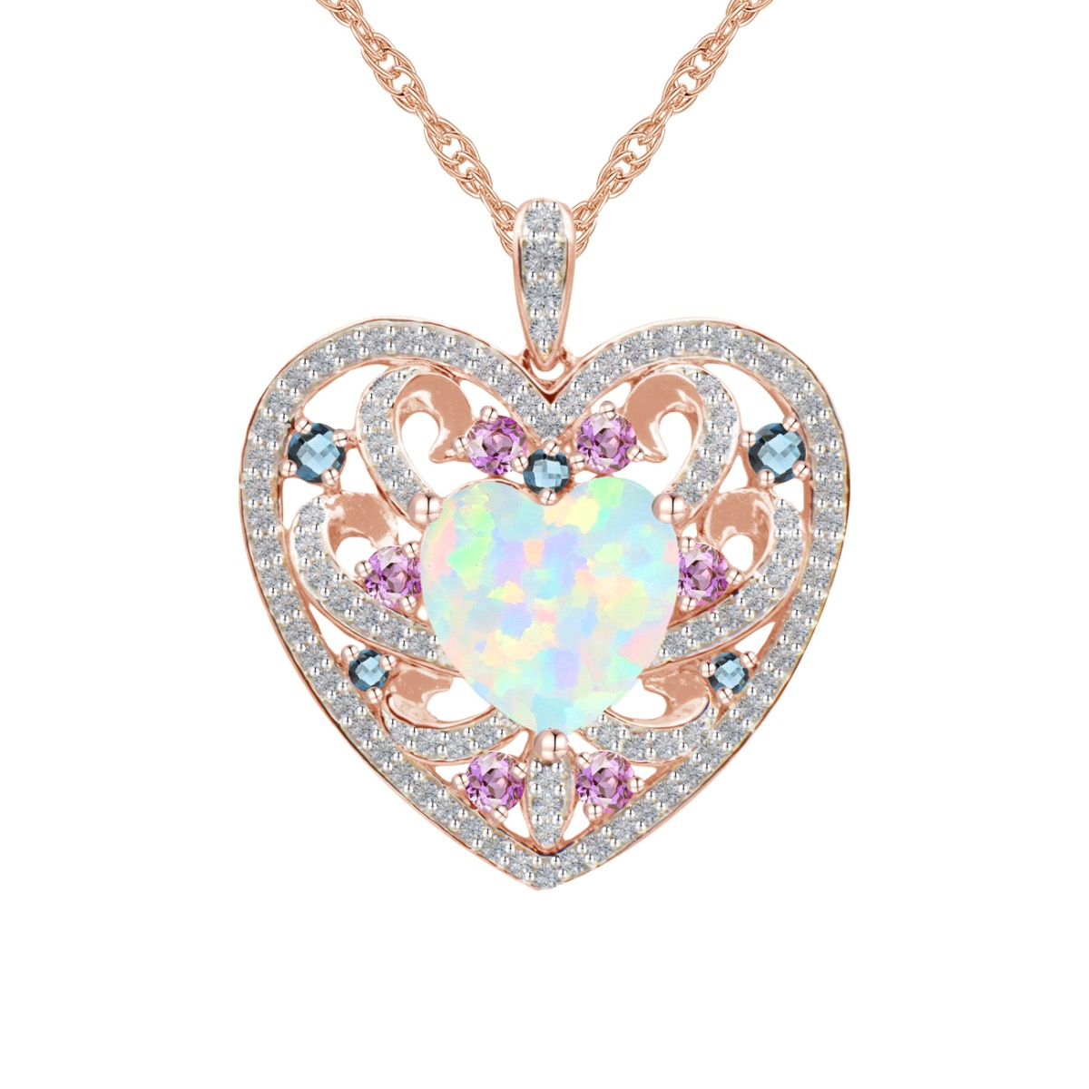 14k Rose Gold Over Silver Lab-Created Opal Heart Pendant